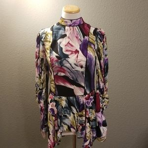 BCBG Asymmetrical Floral Blouse NWT